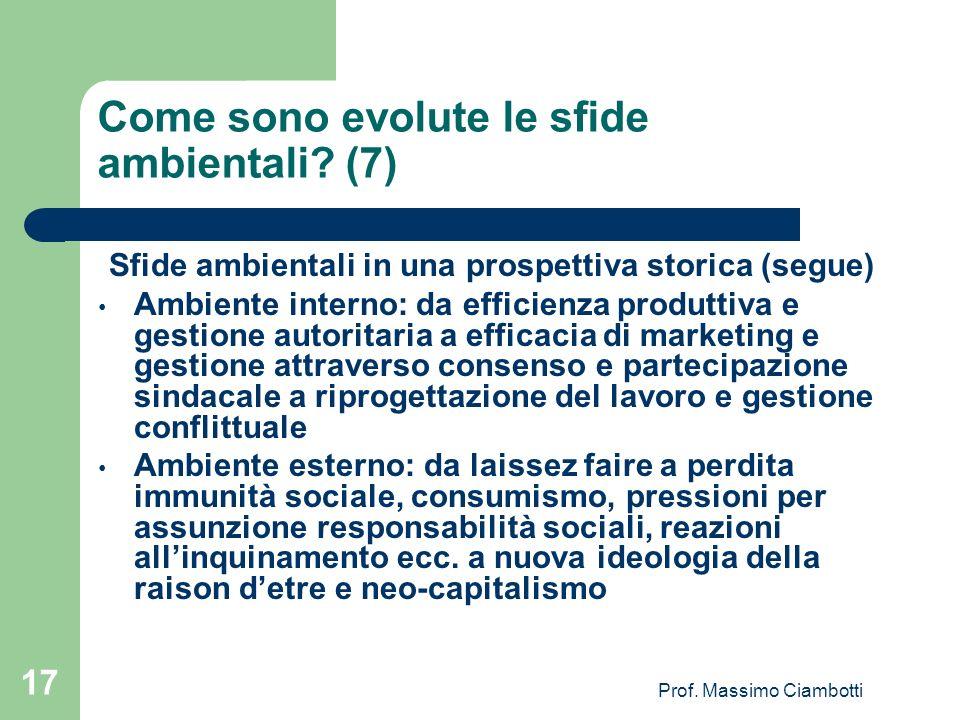 Prof. Massimo Ciambotti 17 Come sono evolute le sfide ambientali? (7) Sfide ambientali in una prospettiva storica (segue) Ambiente interno: da efficie