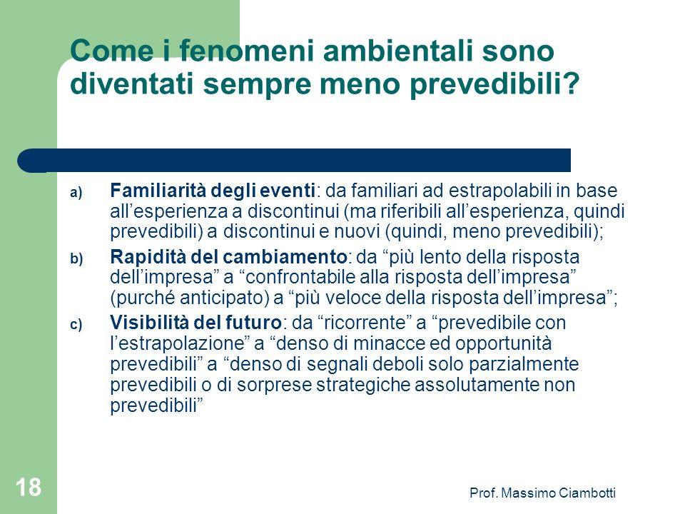 Prof. Massimo Ciambotti 18 Come i fenomeni ambientali sono diventati sempre meno prevedibili? a) Familiarità degli eventi: da familiari ad estrapolabi