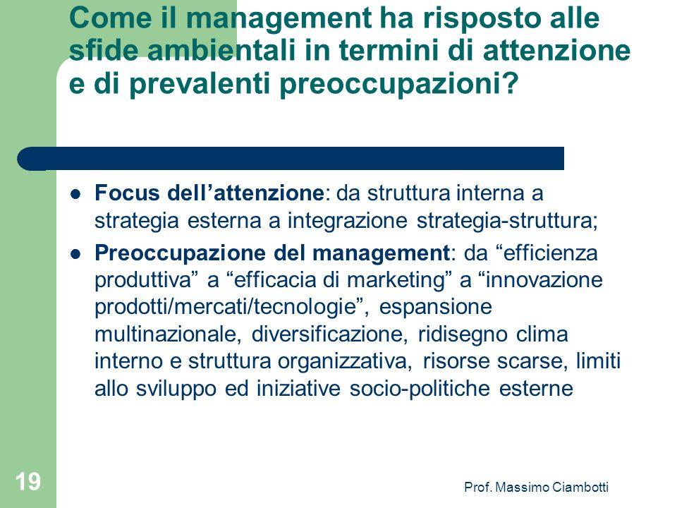 Prof. Massimo Ciambotti 19 Come il management ha risposto alle sfide ambientali in termini di attenzione e di prevalenti preoccupazioni? Focus dellatt