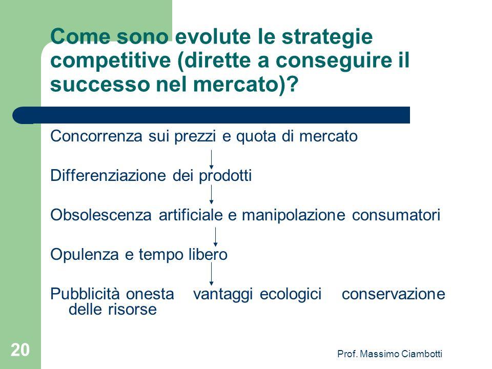Prof. Massimo Ciambotti 20 Come sono evolute le strategie competitive (dirette a conseguire il successo nel mercato)? Concorrenza sui prezzi e quota d