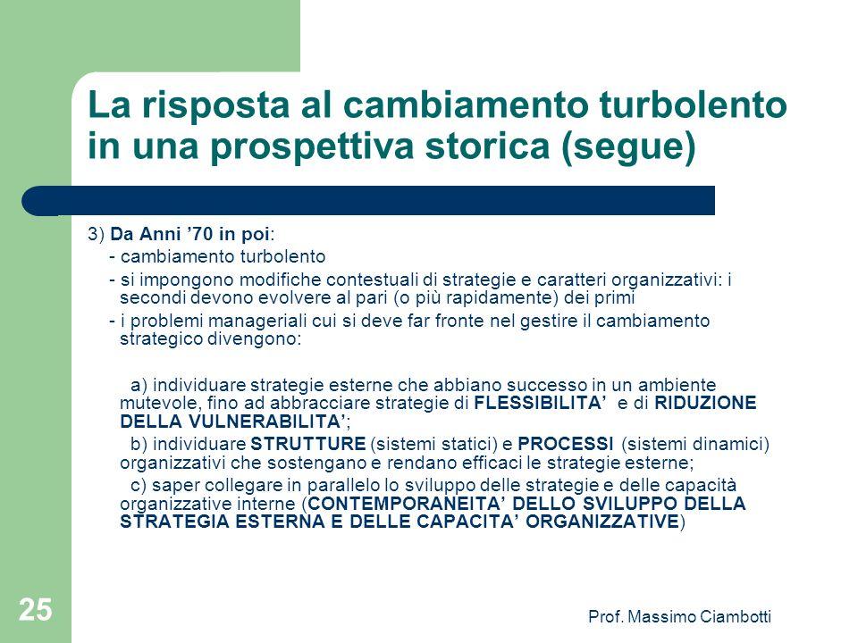 Prof. Massimo Ciambotti 25 La risposta al cambiamento turbolento in una prospettiva storica (segue) 3) Da Anni 70 in poi: - cambiamento turbolento - s