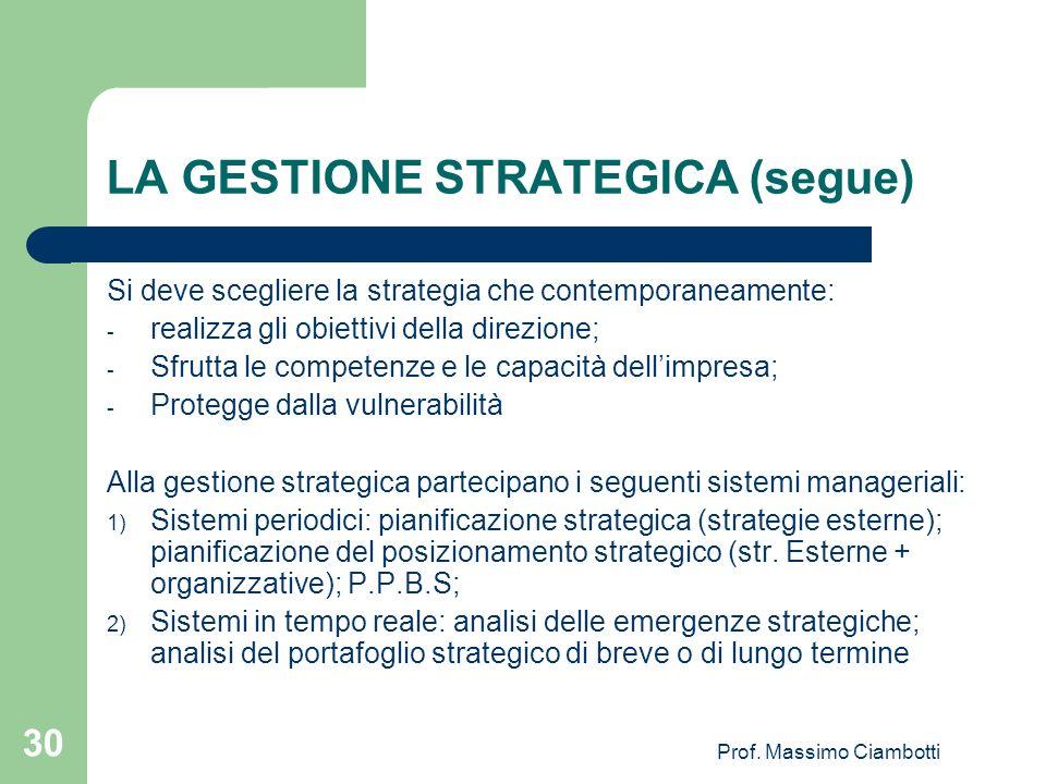 Prof. Massimo Ciambotti 30 LA GESTIONE STRATEGICA (segue) Si deve scegliere la strategia che contemporaneamente: - realizza gli obiettivi della direzi