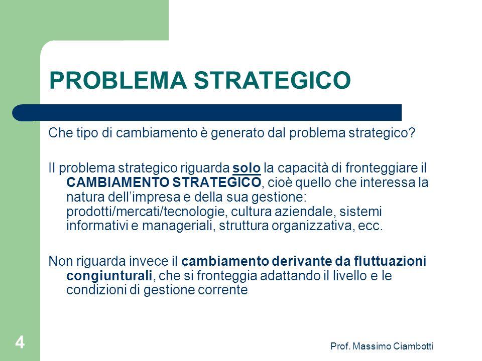 Prof. Massimo Ciambotti 4 PROBLEMA STRATEGICO Che tipo di cambiamento è generato dal problema strategico? Il problema strategico riguarda solo la capa