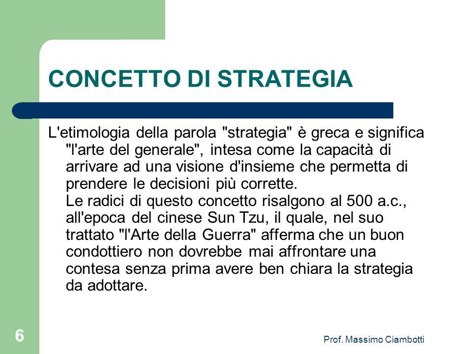 Prof. Massimo Ciambotti 6 CONCETTO DI STRATEGIA L'etimologia della parola