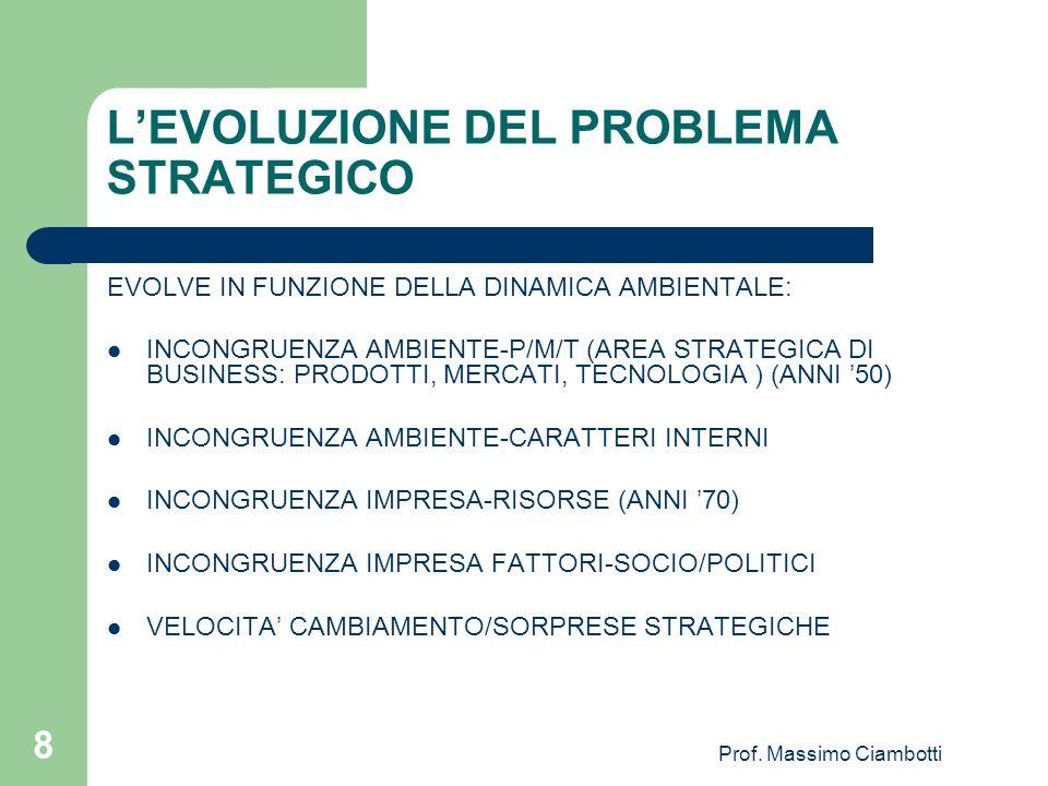 Prof. Massimo Ciambotti 8 LEVOLUZIONE DEL PROBLEMA STRATEGICO EVOLVE IN FUNZIONE DELLA DINAMICA AMBIENTALE: INCONGRUENZA AMBIENTE-P/M/T (AREA STRATEGI