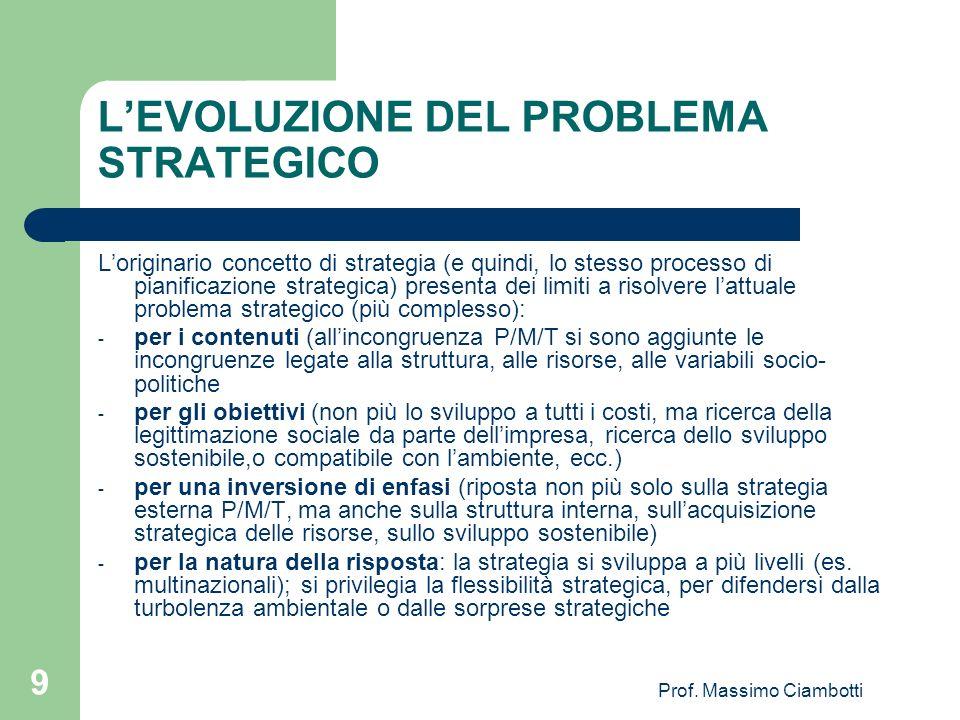 Prof. Massimo Ciambotti 9 LEVOLUZIONE DEL PROBLEMA STRATEGICO Loriginario concetto di strategia (e quindi, lo stesso processo di pianificazione strate