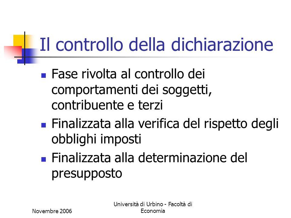 Novembre 2006 Università di Urbino - Facoltà di Economia Il controllo della dichiarazione Fase rivolta al controllo dei comportamenti dei soggetti, co