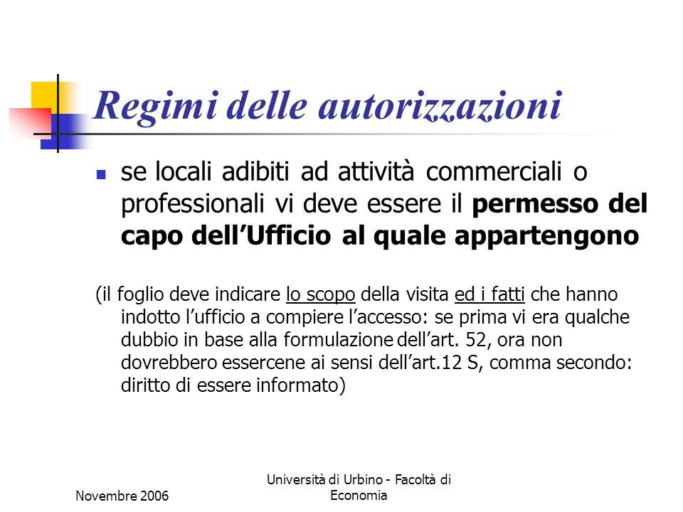 Novembre 2006 Università di Urbino - Facoltà di Economia Regimi delle autorizzazioni se locali adibiti ad attività commerciali o professionali vi deve