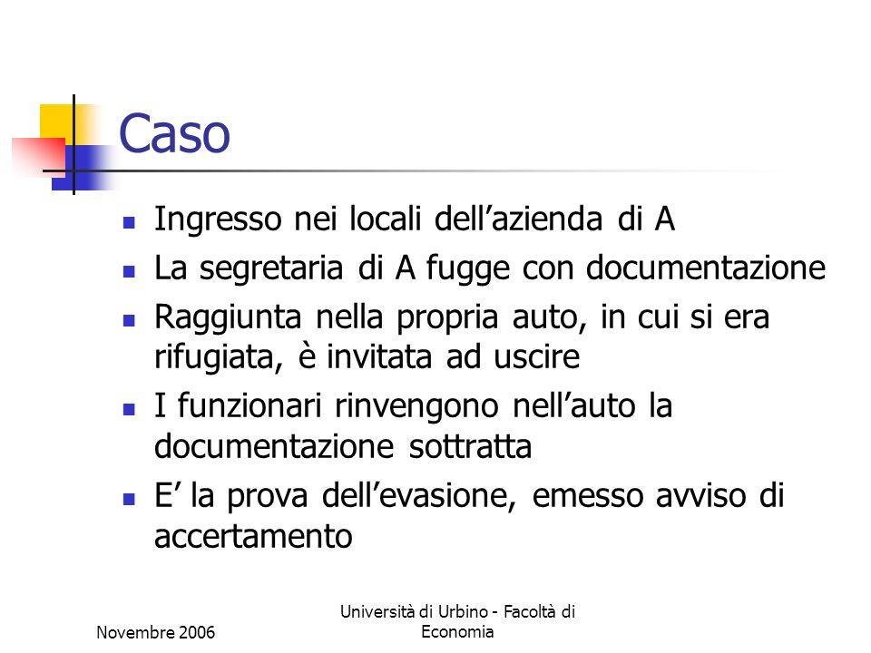 Novembre 2006 Università di Urbino - Facoltà di Economia Caso Ingresso nei locali dellazienda di A La segretaria di A fugge con documentazione Raggiun