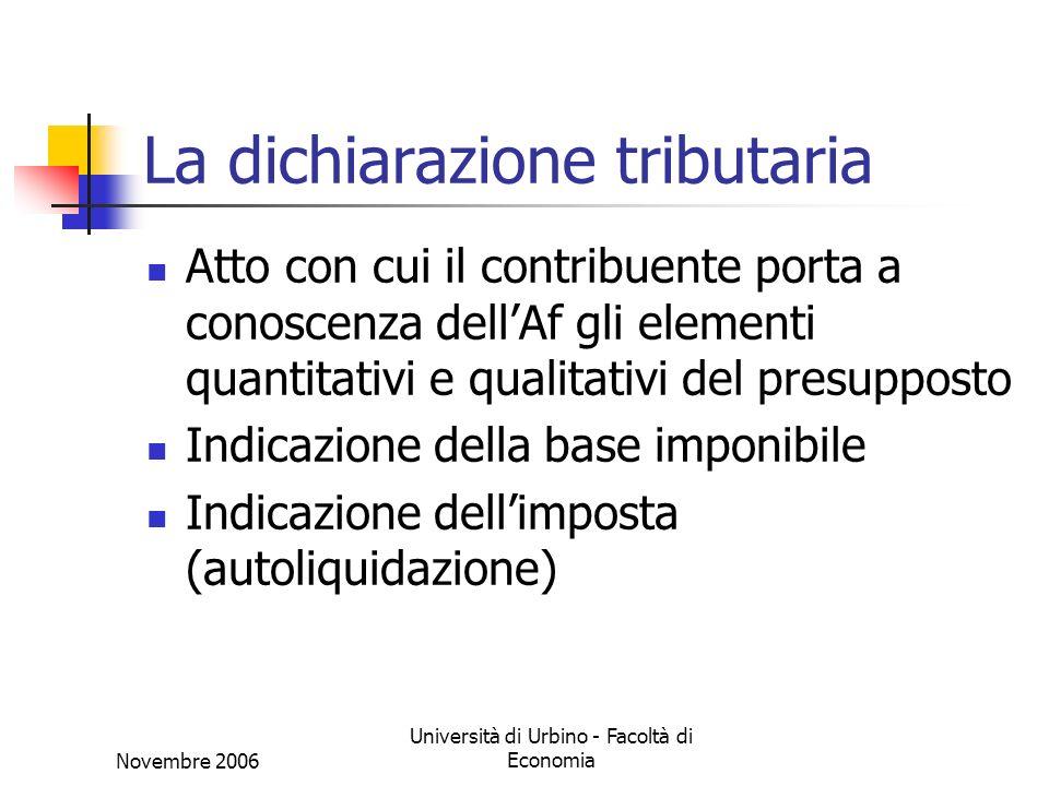 Novembre 2006 Università di Urbino - Facoltà di Economia La dichiarazione tributaria Atto con cui il contribuente porta a conoscenza dellAf gli elementi quantitativi e qualitativi del presupposto Indicazione della base imponibile Indicazione dellimposta (autoliquidazione)
