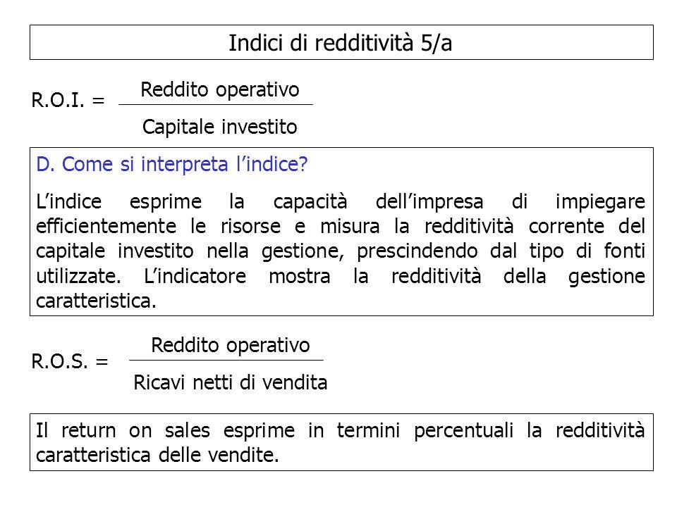 Indici di redditività 5/a R.O.I. = Reddito operativo Capitale investito D. Come si interpreta lindice? Lindice esprime la capacità dellimpresa di impi