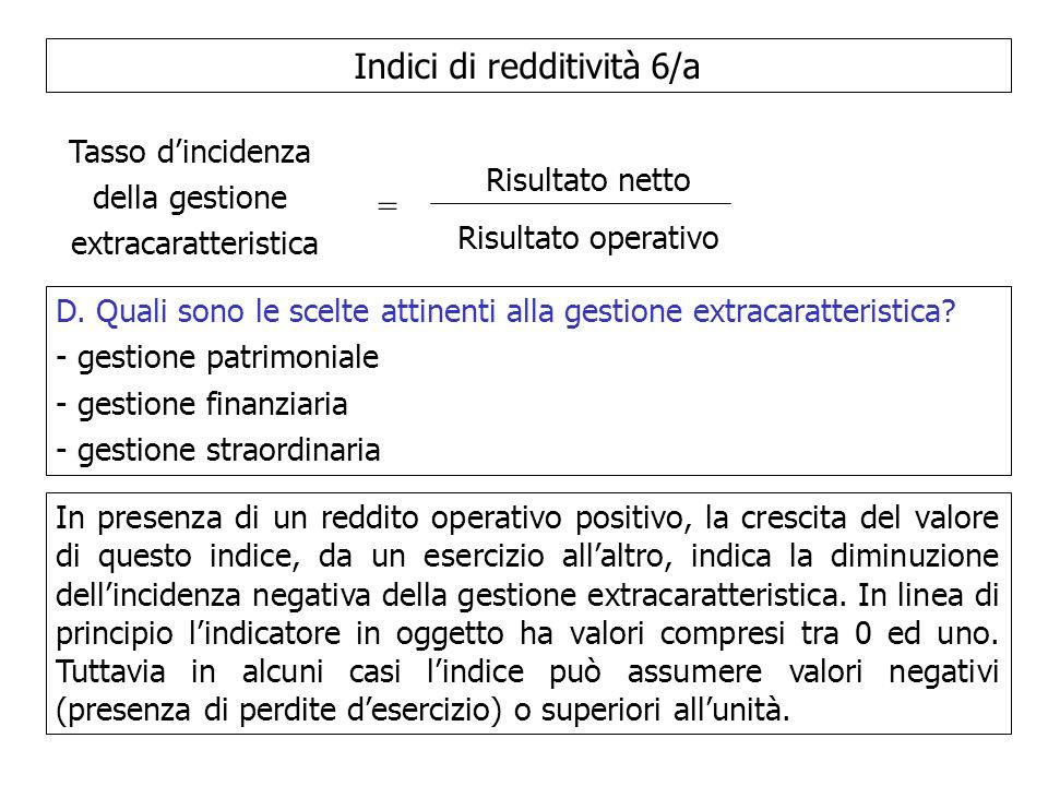 Indici di redditività 6/a Tasso dincidenza della gestione extracaratteristica = Risultato netto Risultato operativo D. Quali sono le scelte attinenti