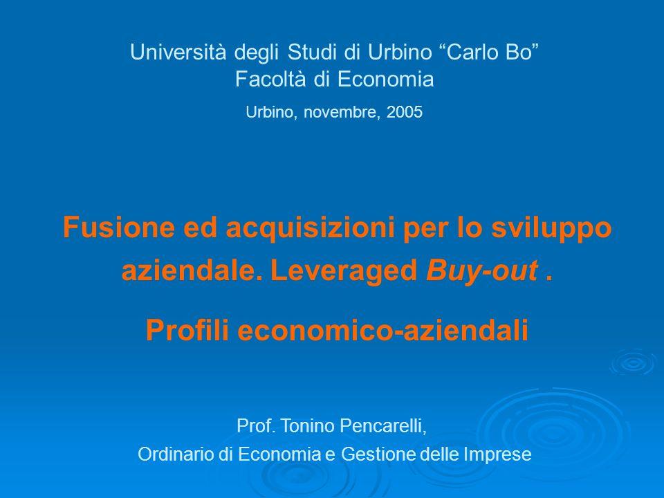 Fusione ed acquisizioni per lo sviluppo aziendale. Leveraged Buy-out. Profili economico-aziendali Università degli Studi di Urbino Carlo Bo Facoltà di