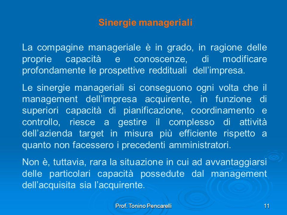 Prof. Tonino Pencarelli11 Sinergie manageriali La compagine manageriale è in grado, in ragione delle proprie capacità e conoscenze, di modificare prof