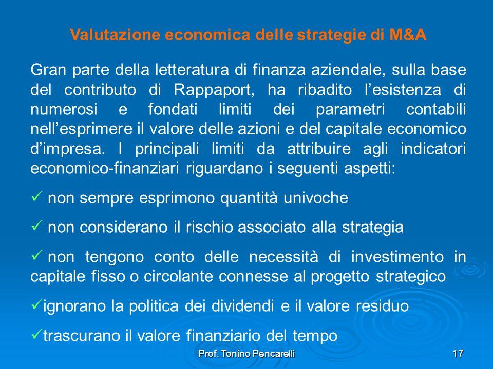 Prof. Tonino Pencarelli17 Valutazione economica delle strategie di M&A Gran parte della letteratura di finanza aziendale, sulla base del contributo di