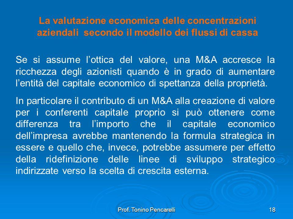 Prof. Tonino Pencarelli18 La valutazione economica delle concentrazioni aziendali secondo il modello dei flussi di cassa Se si assume lottica del valo