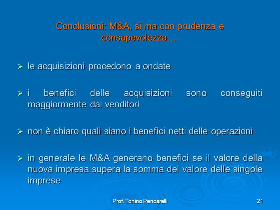Prof. Tonino Pencarelli21 Conclusioni: M&A, si ma con prudenza e consapevolezza…. le acquisizioni procedono a ondate le acquisizioni procedono a ondat