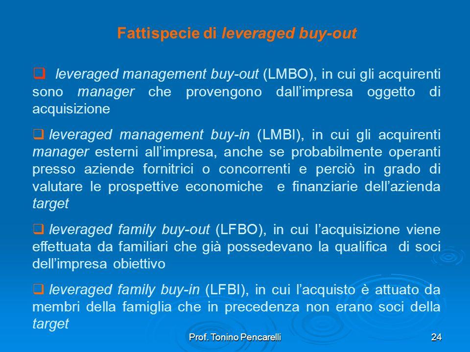 Prof. Tonino Pencarelli24 Fattispecie di leveraged buy-out leveraged management buy-out (LMBO), in cui gli acquirenti sono manager che provengono dall
