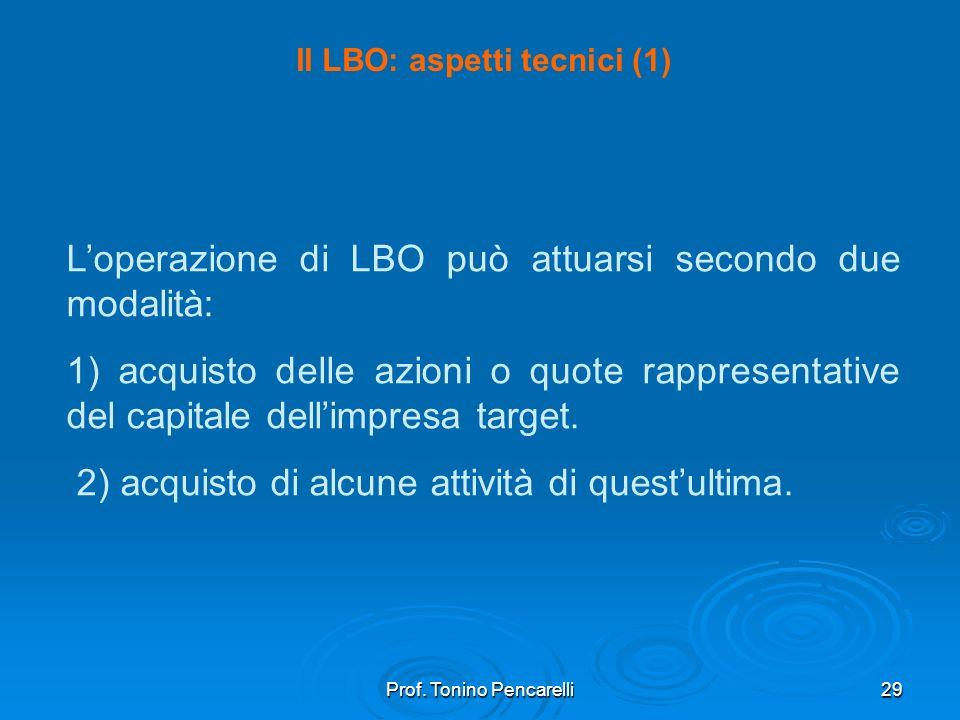 Prof. Tonino Pencarelli29 Il LBO: aspetti tecnici (1) Loperazione di LBO può attuarsi secondo due modalità: 1) acquisto delle azioni o quote rappresen