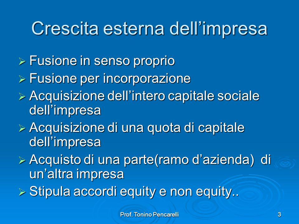 Prof. Tonino Pencarelli3 Crescita esterna dellimpresa Fusione in senso proprio Fusione in senso proprio Fusione per incorporazione Fusione per incorpo