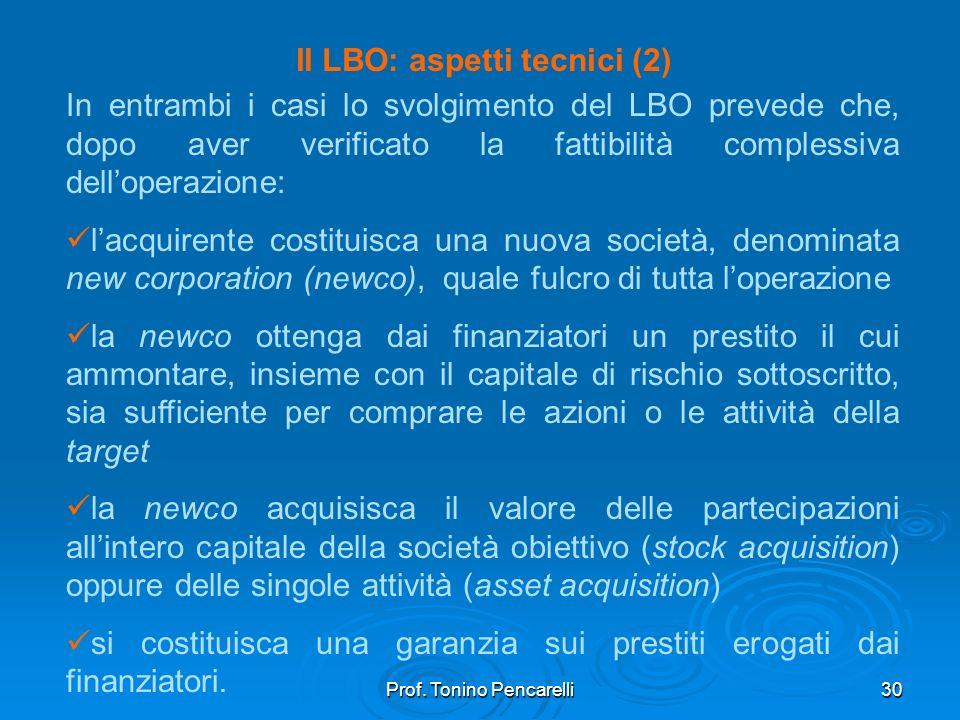 Prof. Tonino Pencarelli30 Il LBO: aspetti tecnici (2) In entrambi i casi lo svolgimento del LBO prevede che, dopo aver verificato la fattibilità compl