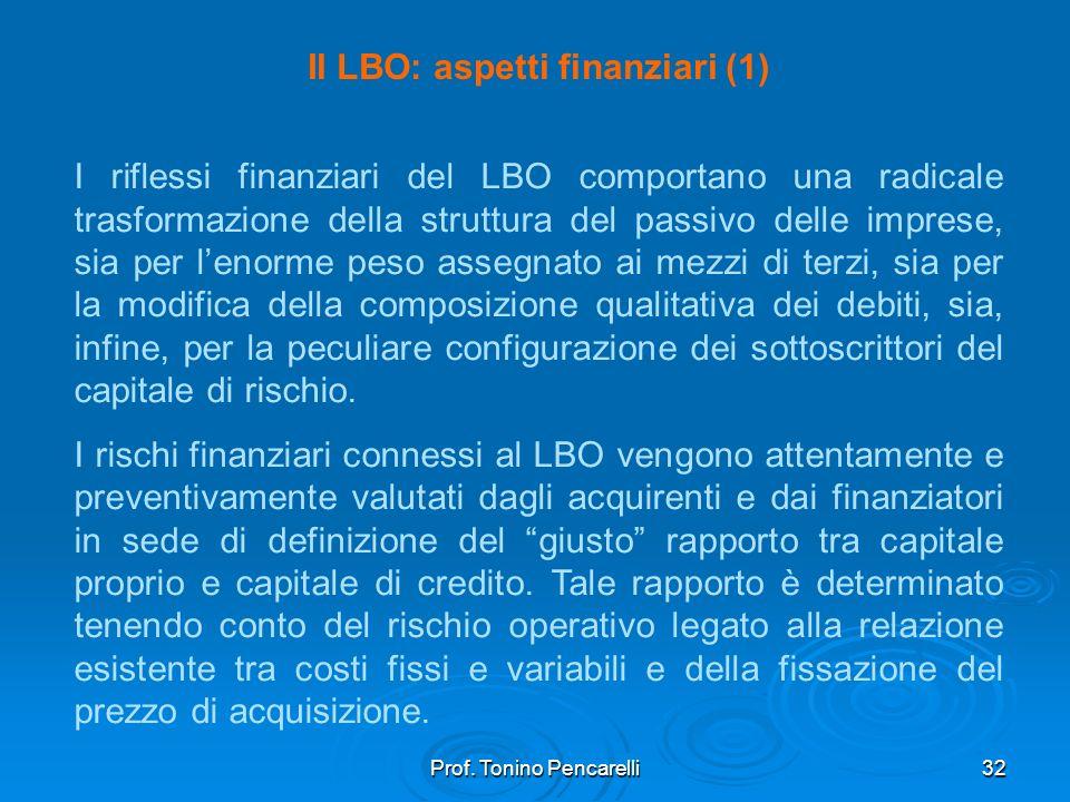 Prof. Tonino Pencarelli32 Il LBO: aspetti finanziari (1) I riflessi finanziari del LBO comportano una radicale trasformazione della struttura del pass