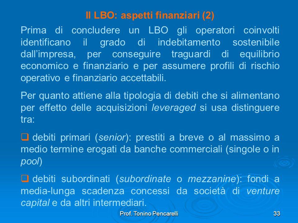 Prof. Tonino Pencarelli33 Il LBO: aspetti finanziari (2) Prima di concludere un LBO gli operatori coinvolti identificano il grado di indebitamento sos