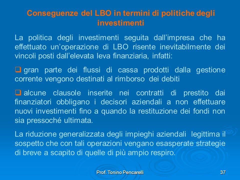 Prof. Tonino Pencarelli37 Conseguenze del LBO in termini di politiche degli investimenti La politica degli investimenti seguita dallimpresa che ha eff