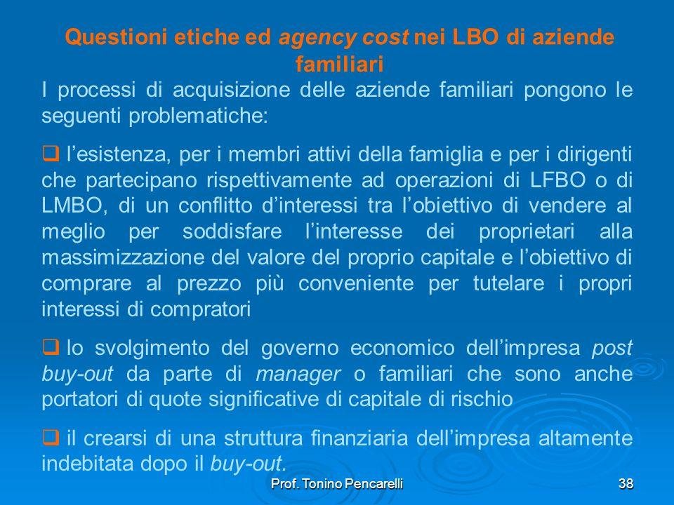 Prof. Tonino Pencarelli38 Questioni etiche ed agency cost nei LBO di aziende familiari I processi di acquisizione delle aziende familiari pongono le s