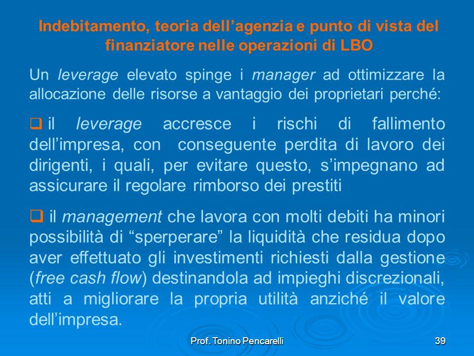 Prof. Tonino Pencarelli39 Indebitamento, teoria dellagenzia e punto di vista del finanziatore nelle operazioni di LBO Un leverage elevato spinge i man