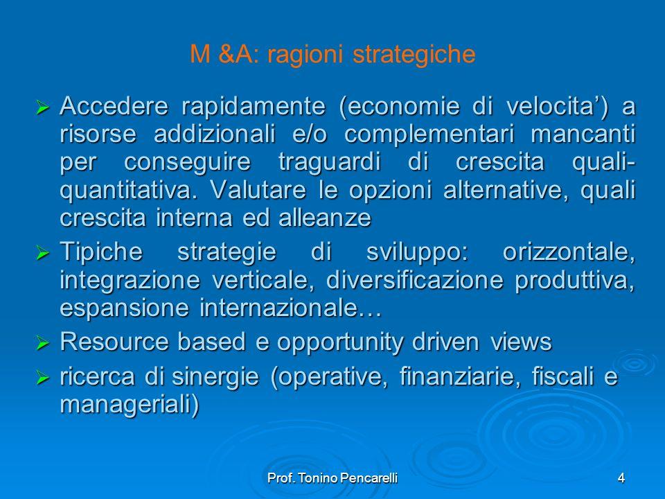 Prof. Tonino Pencarelli4 M &A: ragioni strategiche Accedere rapidamente (economie di velocita) a risorse addizionali e/o complementari mancanti per co