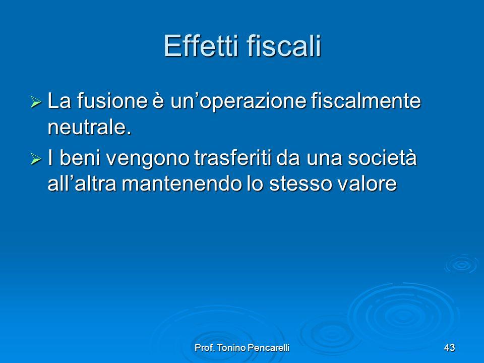 Prof. Tonino Pencarelli43 Effetti fiscali La fusione è unoperazione fiscalmente neutrale. La fusione è unoperazione fiscalmente neutrale. I beni vengo