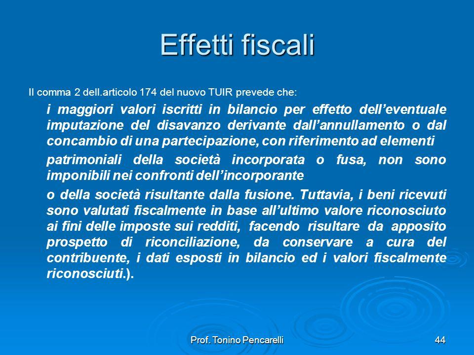 Prof. Tonino Pencarelli44 Effetti fiscali Il comma 2 dell.articolo 174 del nuovo TUIR prevede che: i maggiori valori iscritti in bilancio per effetto