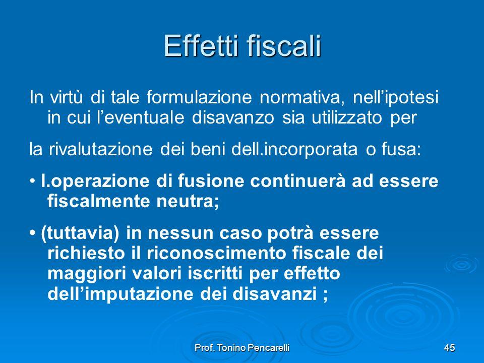 Prof. Tonino Pencarelli45 Effetti fiscali In virtù di tale formulazione normativa, nellipotesi in cui leventuale disavanzo sia utilizzato per la rival