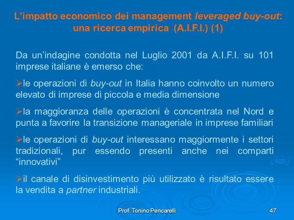 Prof. Tonino Pencarelli47 Limpatto economico dei management leveraged buy-out: una ricerca empirica (A.I.F.I.) (1) Da unindagine condotta nel Luglio 2