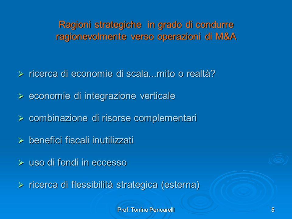 Prof. Tonino Pencarelli5 Ragioni strategiche in grado di condurre ragionevolmente verso operazioni di M&A ricerca di economie di scala...mito o realtà