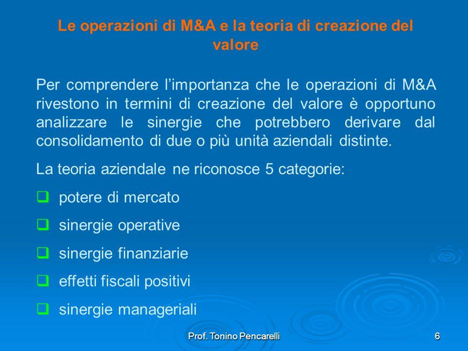 Prof. Tonino Pencarelli6 Le operazioni di M&A e la teoria di creazione del valore Per comprendere limportanza che le operazioni di M&A rivestono in te
