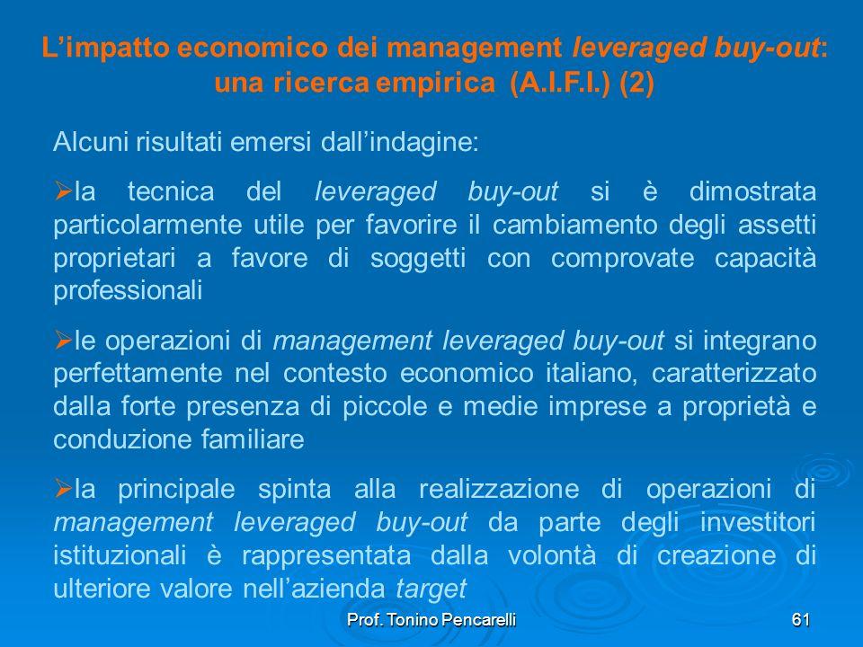 Prof. Tonino Pencarelli61 Limpatto economico dei management leveraged buy-out: una ricerca empirica (A.I.F.I.) (2) Alcuni risultati emersi dallindagin
