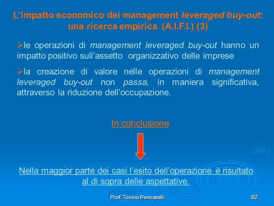 Prof. Tonino Pencarelli62 Limpatto economico dei management leveraged buy-out: una ricerca empirica (A.I.F.I.) (3) le operazioni di management leverag