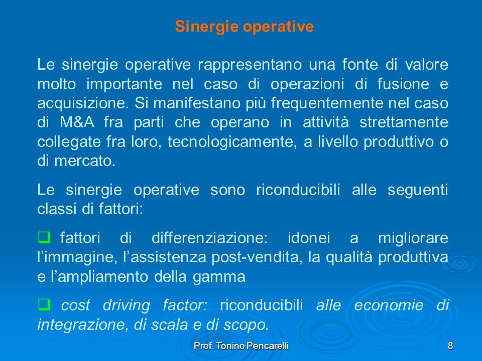 Prof. Tonino Pencarelli8 Sinergie operative Le sinergie operative rappresentano una fonte di valore molto importante nel caso di operazioni di fusione