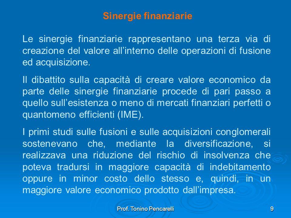 Prof. Tonino Pencarelli9 Sinergie finanziarie Le sinergie finanziarie rappresentano una terza via di creazione del valore allinterno delle operazioni