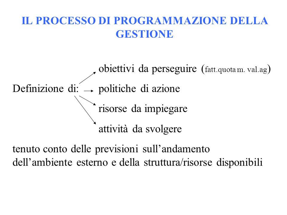 IL PROCESSO DI PROGRAMMAZIONE DELLA GESTIONE obiettivi da perseguire ( fatt.quota m. val.ag ) Definizione di: politiche di azione risorse da impiegare