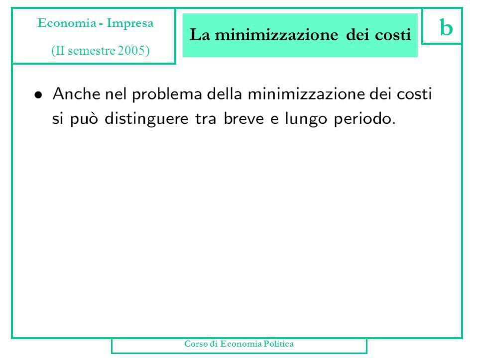 La minimizzazione dei costi Corso di Economia Politica a Economia - Impresa (II semestre 2005)