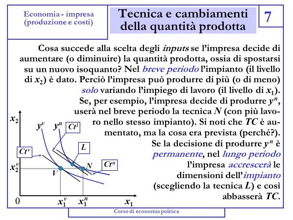 Cambiamenti della tecnica 6 Economia - impresa (produzione e costi) (ottobre-dicembre 2003) Indichiamo con w = w 1 / w 2 il prezzo relativo degli inpu