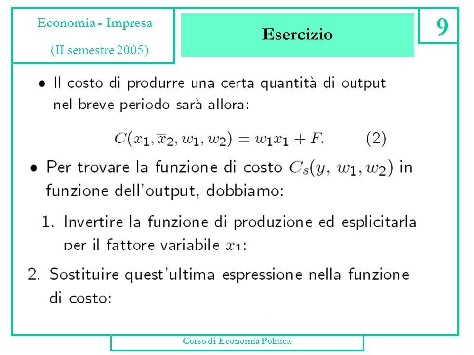 Minimo Costo Esercizio II Corso di Economia Politica 8 Economia - Impresa (II semestre 2005) Vediamo come si ricavano le funzioni di costo di breve e