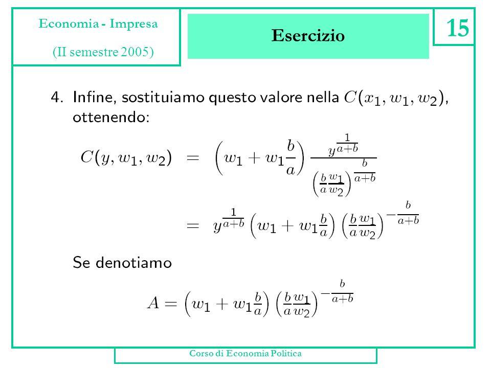 Esercizio Corso di Economia Politica 14 Economia - Impresa (II semestre 2005)