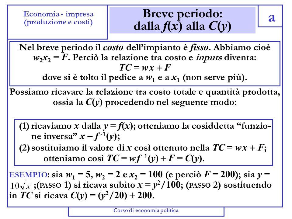 La minimizzazione dei costi Corso di Economia Politica b Economia - Impresa (II semestre 2005)