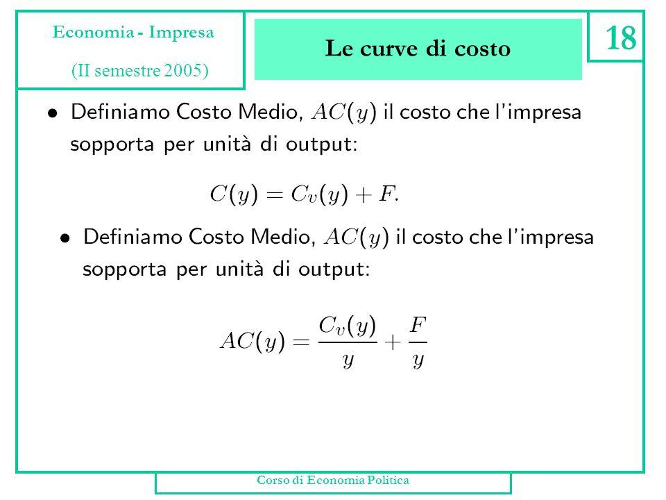 Le curve di costo Corso di Economia Politica 17 Economia - Impresa (II semestre 2005)