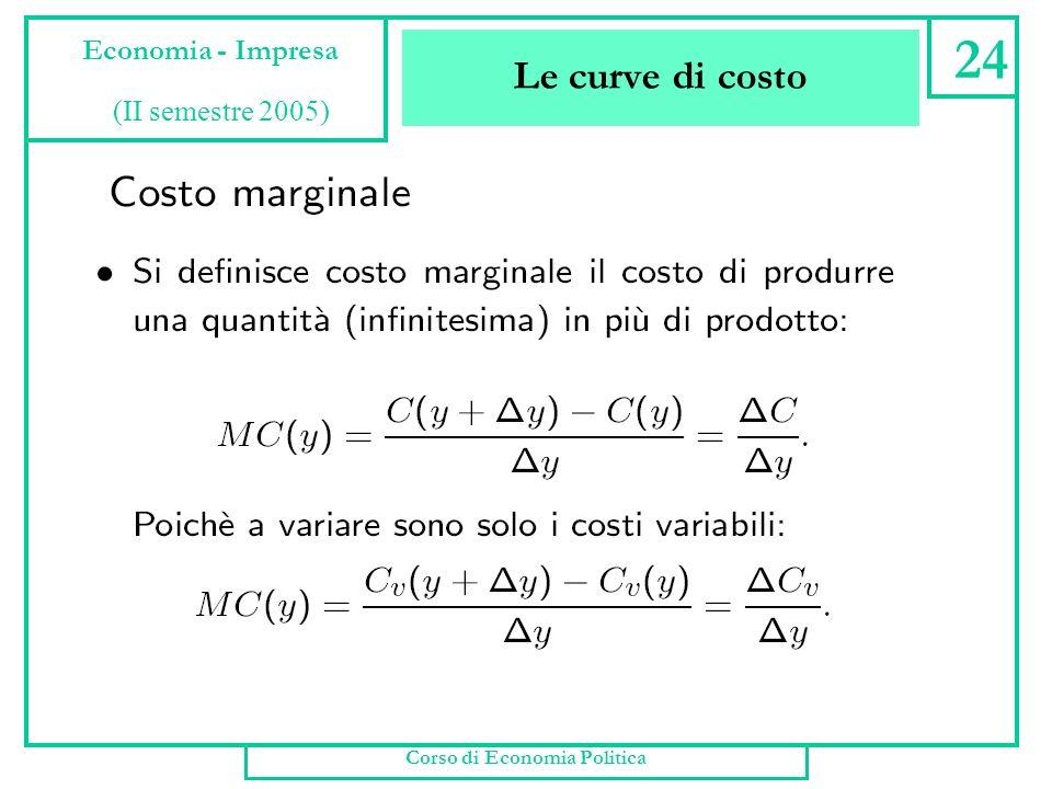 Le curve di costo Corso di Economia Politica 23 Economia - Impresa (II semestre 2005)