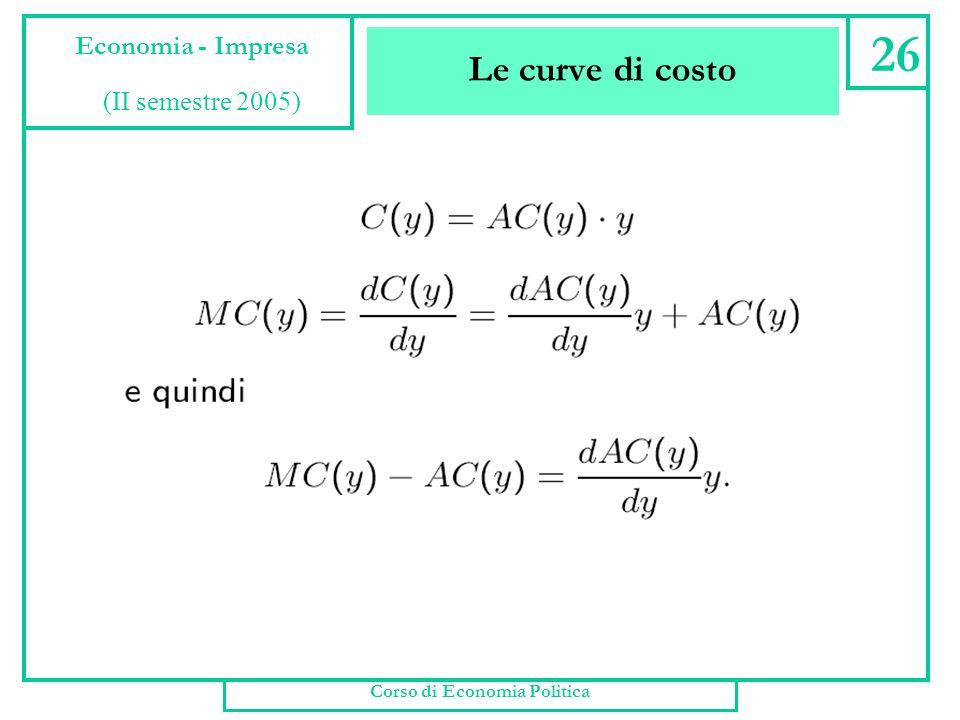 Le curve di costo Corso di Economia Politica 25 Economia - Impresa (II semestre 2005)
